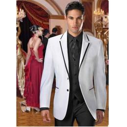 Wholesale Classic Design White Groom Tuxedos Notch Lapel Two Button Groomsmen Mens Wedding Suits Excellent Man Piece Suit Jacket Pants Vest Tie