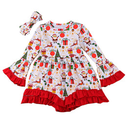 Years girls dressing stYle online shopping - Girls Christmas Dress T Floral Printed Deer Santa Claus Notre Dame New Year Gift Dresses Long Sleeve Pagoda Sleeve Headband