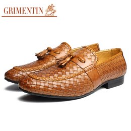 b050977436584 GRIMENTIN 2018 Brand men loafers handmade braided mens formal shoes genuine  leather brown black fashion tassel male shoes size 38-45 2ox997