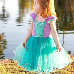 LittLe mermaid cospLay costume online shopping - Girls Little Mermaid Cosplay Dress Short Sleeve Christmas Halloween Costumes Party Wedding Dresses Prom Baby Children Clothing HH7