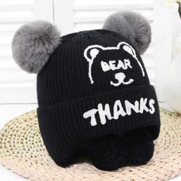 $enCountryForm.capitalKeyWord NZ - Autumn Winter Hats Children Beanie kids For Boys Girls Baby Hat Wool Furs Beanies Cartoon Bear Child Gift for Ages 1-3 Years
