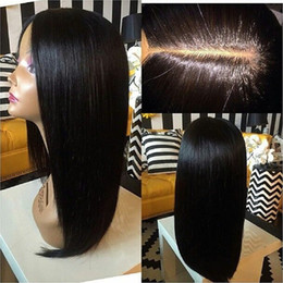 Silk Based Peruvian Wig Australia - Hot Malaysian Silky Straight 5*4.5'' Silk Base Full Lace Wig Middle Part Human Hair Wigs Glueless Silk Top Wigs Bleached Knots