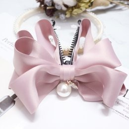 Wholesale New High grade fabric double bowknot Banana Hair Clip For Girls Barrette Hair Accessories For Women crab claw clip hairpin