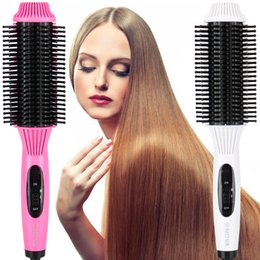 Straightening Irons Comb Australia - 2 in 1 Anion Fast Heat Curler Hair Straightener Electric Hair Comb Brush Straightening Irons Multifunction Salon Curling Tool