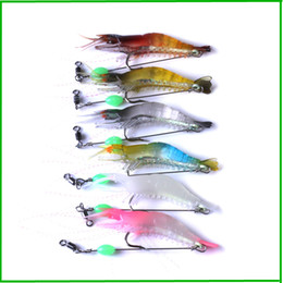 shrimp prawn lures NZ - New 5Colors Plastic octopus Fishing Lure Artificial Soft Prawn Squid bait 8cm 5.3g Shrimp Cuttlefish Lure Hook