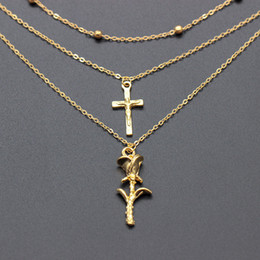 d7665f9f7a9a Rose gold cRoss necklaces online shopping - Rose Flower Necklace For Women  Jewelry Girls Trendy Gold
