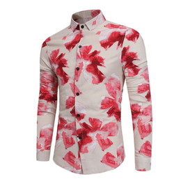 long collar shirts NZ - mens designer t shirts long sleeve Casual Dress Shirts 2018 High Quality turn-down collar Floral Print Slim men s clothing Social Shirts