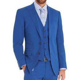 China Light Blue Wedding Groomsmen Tuxedos Groom Wear Three Piece Peaked Lapel Custom Made Men Suits 2018 Jacket Pants Vest supplier pants wear wedding suppliers