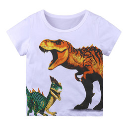 White Boy T Shirts UK - Toddler Infant Baby Boys Clothes Cotton short sleeve summer T Shirts O Neck dinosaur design boys Top for 1-6y T-shirt
