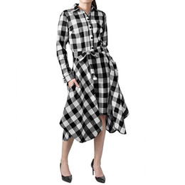 ladies mid calf dresses 2019 - 2018 Autumn New Women Plaid Dress Office Ladies Asymmetric Long Sleeve Lapel Neck Mid-Calf Button Lace-Up Casual Midi Dr