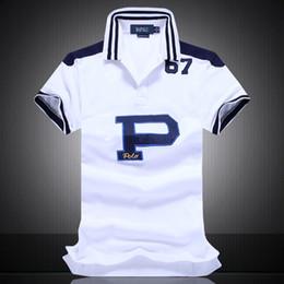 f93ebfa0a5a8fc Stickerei Polo Shirt Multi Farbe Kurzarm Herren Polos Sport DIAGONAL  STREIFEN BLAU ROT WEIß SCHWARZ STREIFEN S M L XL 2XLDropship