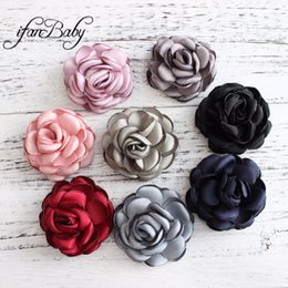 2017 Hair Flowers Girls Kids Women Hair Accessories Burned Singed Hair Flower Satin Fabric Flowers 30pcs Girl's Accessories