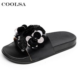 32634ddeb wholesale Summer Women Beach Slippers Flowers Bling Sandals Flat Non Slip  Sequins Ladies Jelly Slides Home Flip flops Casual Shoes