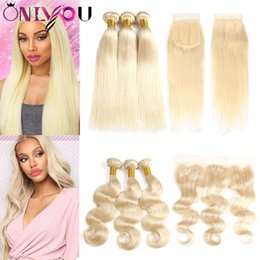 Weave straight 613 online shopping - Raw Brazilian Virgin Hair Blonde Bundles with Lace Frontal Closure Straight Body Wave Colored Ombre Human Hair Bundles with Closures
