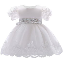White Clothes For Baptism Australia - 2018 Baby Girl Dress Lace white Baptism Dresses for Girls 1st year birthday party wedding Christening baby infant clothing