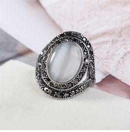 Hollow Fingers Australia - Fashion Rhinestone Women Jewelry Fashion Female Pop Hollowed Retro Cat Eye Ring 17MM 18MM 19MM Size Index Fingers Ring