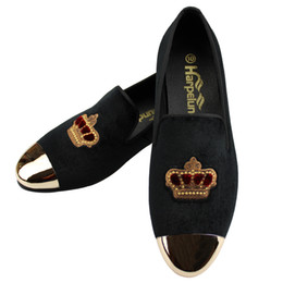 $enCountryForm.capitalKeyWord UK - Harpelunde New Arrival Men Dress Wedding Shoes Handmade Bullion Black Velvet Loafers With Copper Cap Toe Size 6 to 14