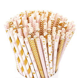 Biodegradable Straws Wholesale NZ - bulk Biodegradable Paper Straws wholesale 100pcs  lot 300 designs you can choose for Juices, Shakes and Smoothies, Party Supplies