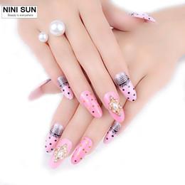 $enCountryForm.capitalKeyWord Australia - New Arrival Decorated 3D fake nails 24pcs set Resinstone acrylic false nail tips 3D Manicure nail wholesale for married bride