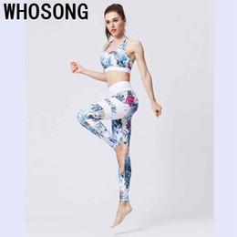 $enCountryForm.capitalKeyWord NZ - Floral Print Fitness Women Yoga Set Sport Bra and Legging Pants 2 Piece Women Suits Sexy Elastic Push Up Slim Yoga Sportswear