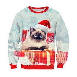 $enCountryForm.capitalKeyWord NZ - 2019 Alisister Harajuku Cat Sweatshirt 3D Print Christmas Hoodie Cute Kitten Sloth Grumpy Cat With Christmas Hat Outerwear Funny Tops