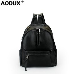 back packs teenager Australia - wholesale Teenagers Girls Genuine Leather Backpacks Real Cowhide Back Pack Women Backpack Top Layer Cow Leather Schoolbag