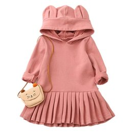 ce0de13aec Child Autumn Clothes Baby Girls Rabbit Ears Hooded Hoodies Long Sleeve  Casual Sweatshirts Dress Childrens Girls Blouse Outerwear