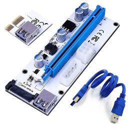 6pin Connector Australia - 008S PCI-E Express 1x to 16x USB Riser Adapter Card Cable Molex 6pin Sata USB 3.1 Extension Connector Riser60cm