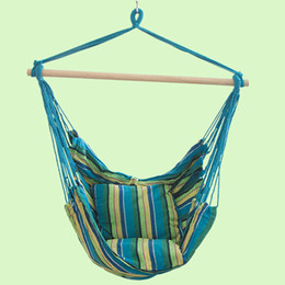$enCountryForm.capitalKeyWord UK - New Indoor Outdoor Children Canvas Hammock Hanging Rope Chair Porch Swing Seat Patio Camping Student Portable Stripe Leisure Chair