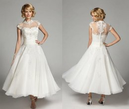 $enCountryForm.capitalKeyWord UK - New Vintage High Neck Wedding Dresses Ankle Length Cap Sleeve Beads Sequins Ivory Lace Organza Short Bridal Gowns Custom Made HY4151