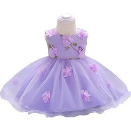 Discount rustic flower girl - Rustic Light Purple Pink Flower Girl Dresses Pattern With Handmade Flower Infant toddler pageant dresses Bow Zipper Back