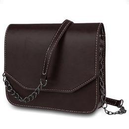 $enCountryForm.capitalKeyWord NZ - Ladies Chain Messenger Bag Leather Women Solid Color Crossbody Bag Magnet Button Shoulder Belt Strap Bags