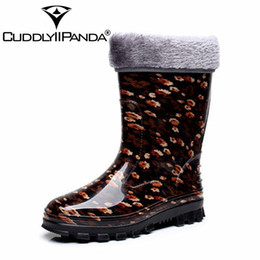 Discount boot red platforms - CUDDLYIIPANDA 2018 Sugarwest Botas Mujer 8 Colors Rain Boots Women Dot Rainboots Round Toe Buckle Mid Calf Platform Wome