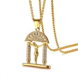 $enCountryForm.capitalKeyWord NZ - Bling Cubic Zirconia Jesus Piece Mens Necklace Gold Color Stainless Steel Crucifix Pendant Statement Necklace Christian Prayer Male Jewelry