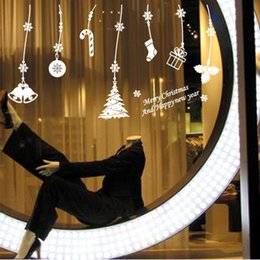 $enCountryForm.capitalKeyWord NZ - Christmas Snowflake Sticker Window Glass Stickers New Year Wall Sticker Home Shop Windows Decals With Elk Tree Small Bell