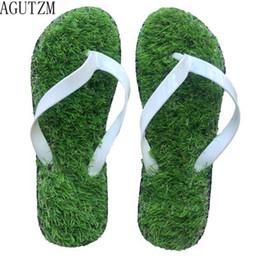 37446249e AGUTZM Lovers Imitation Grass Men Flip Flops For Men Summer Beach Flip Flops  Flat Shoe Out Sandals Slipper Sandalias Mujer V88