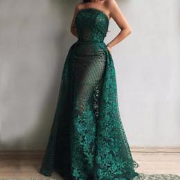 Long sLeeve goLd gLitter dress online shopping - Dark Green Glitter Mermaid Evening Dresses Long Sparkly Sexy Strapless Elegant Split Formal Prom Gowns Robe De Soiree Party Dress