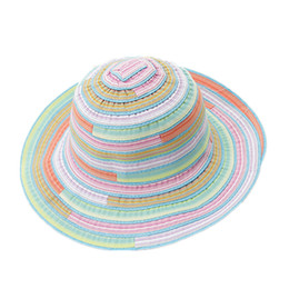 Chinese  Women Hat Female Large Brimmed Summer Folding Sun Hat Rainbow Striped Cap Fashion Outdoor Sunscreen Beach Holiday Resort manufacturers