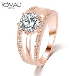 Wholesale Romad Austrian Crystals Ring Rose Gold Color anillos Hollow Ring bague femme Engagement anel Rings for Women Wedding Jewelry