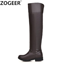 Discount boot red platforms - Plus size 48 Women Snow Boots Fashion Knee High Boots For Women Casual Platform Low Heels Long Ladies Shoes winter footw