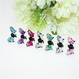 $enCountryForm.capitalKeyWord NZ - 4Pcs Lot Mini Hair Claw Butterfly Rose Flower Hair Clip Kawaii Barrette Cute Headdress Rhinestone Hairpin Girls Accessories