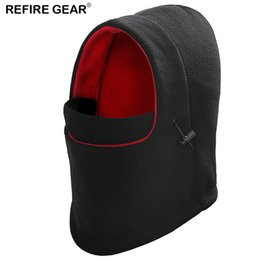 face covering hats NZ - Refire Gear Winter Outdoor Hooded Beanie Hat Men Fall Velvet Warm Hiking Camp Face Mask Windproof Hood Cover Balaclava Cap Men