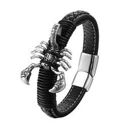 $enCountryForm.capitalKeyWord UK - 2018 Men Bracelet Scorpion Stainless Steel Bracelets & Bangles Punk Leather Bracelet For Men Jewelry Charm Party Gifts