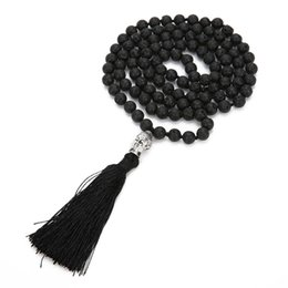bohemian sweaters women NZ - 2018 Bohemian Lava Rock Long tassel Necklace Diffuser Essential Oil Black Natural stone Buddha beads sweater Chain For women Fashion Jewelry