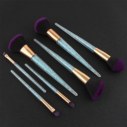 $enCountryForm.capitalKeyWord NZ - Diamond 7pcs set Blue Crystal Handle Premium Full Function Makeup Brushes Unicorn Complete Portable Cosmetic Beauty Make Up Brushes