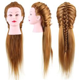 40% de vrais cheveux humains 26 '' coiffeur mannequin coiffeur tressage pratique mannequin formation poupée brun blond avec support de pince en Solde