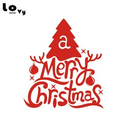Chinese  Creative Merry Christmas Tree Wall Sticker Xmas Art Wall Decal for Store Window Home Decor WA0621 manufacturers