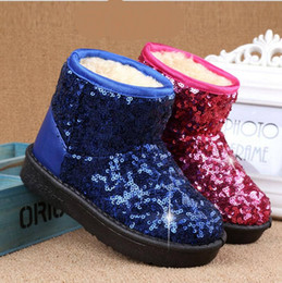 Discount toddler snow shoes - Kids Girls Snow Boots Winter Short Boots Toddler Sequin Back Leather Boots Fashion Flats Casual Waterproof Shoes 3 Color