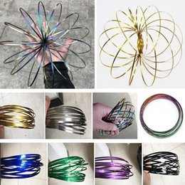 Pack Supplies Australia - 9 Colors Metal Rainbow Magic Flow Ring Amazing Toys Kinetic Spring Toy Funny Outdoor Game Intelligent Toy Fidget Spinner Retail Pack TY7-345