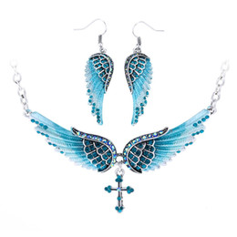 Angel Wing Cross Necklace Earrings Sets Women Biker Jewelry Birthday Gifts For Her Wife Mom Girlfriend Dropshipping NENC01